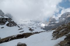 Winter and early spring in snow covered dolomites Stock Photography
