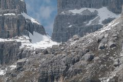 Winter and early spring in snow covered dolomites Royalty Free Stock Images