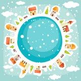 Winter earth background. Vector illustration Stock Photos