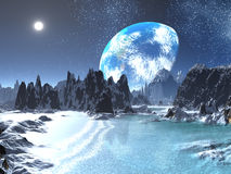 Winter Earth-rise from Alien Shores Royalty Free Stock Image