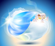 Winter. Eco-icon with nature yin-yang Stock Photo