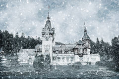 Winter Effect Of Peles Castle In Carpathian Mountains Stock Images