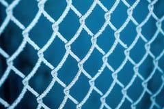 Winter, ein Gitter des Zauns, umfasst mit Reif, ein eisiger Winter lizenzfreie stockfotos