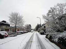 Winter in einer Nachbarschaft Stockbild