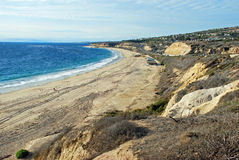 Winter at El Moro (Morro) Beach and Crystal Cove State Park, Southern California. This winter time image shows El Moro (Morro) Beach with Crystal Cove State Park stock photos