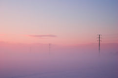 Winter electric poles Stock Photo