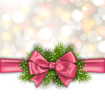 Winter Elegant Background with Pink Bow Ribbon. Illustration Winter Elegant Background with Pink Bow Ribbon and Green Pine Branches - Vector Royalty Free Stock Image