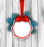 Winter Elegant Card with Red Bow Ribbon. Illustration Winter Elegant Card with Red Bow Ribbon and Blue Pine Branches, on Wooden Background - Vector Royalty Free Stock Photo
