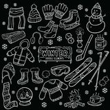 Winter Element Chalkboard Drawing Stock Image