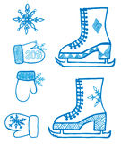 Winter element design with snowflake, skates, mitten Royalty Free Stock Photos