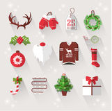Winter elements with long shadows for Christmas Royalty Free Stock Photo