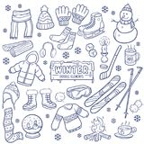 Winter Season Hand Drawn Elements. Royalty Free Stock Photos