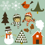 Winter Elements Set Royalty Free Stock Photos