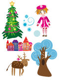 Winter elements set. Vector graphic card with cute winter elements set Royalty Free Stock Photography