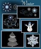 Winter elements Stock Images