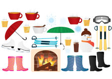 Winter elements vector icons Royalty Free Stock Photos