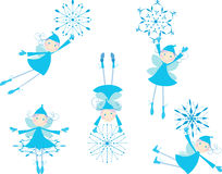 Winter elves with snowflakes. Vector image of the little christmas elves royalty free illustration