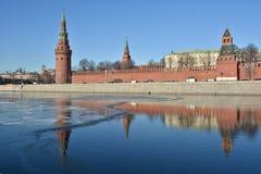Winter embankment of the Moscow Kremlin. Royalty Free Stock Photos