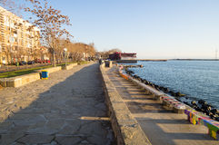 Winter embankment in Pomorie, Bulgaria Stock Photos