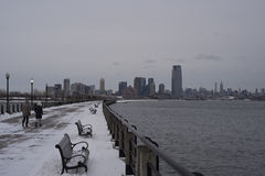 Winter embankment to skyline Stock Image
