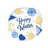 Big winter poster. Christmas Greeting Card. Merry Christmas. Winter emblems for invitation, greeting card, t-shirt, prints and posters Stock Photos