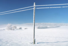 Winter empty landscape blue sky, snowy telefony lines Stock Images