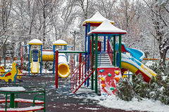 Winter empty playground Royalty Free Stock Photo