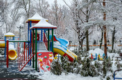 Winter empty playground Stock Photography