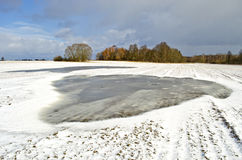 Winter end  fields  with snow and big water flood puddle Stock Image