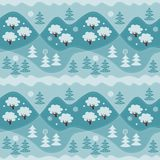Winter endless pattern. Print for fabric, paper, wallpaper. Winter endless pattern with forest. Print for fabric, wallpaper, wrapping paper. Vector illustration Royalty Free Stock Photos