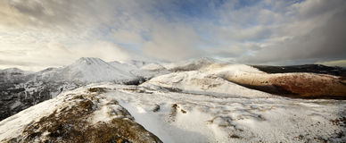 Winter in the English Lake District. This is a panoramic view from the summit of Barrow looking towards the string of peaks commonly known as the Coledale Stock Photos
