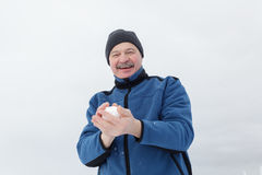 Winter entertainment, games with snow Stock Photo