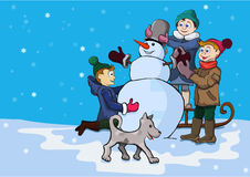 Winter entertainments of children Stock Photo