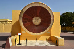 Winter equitorial sundial instrument at astronomical observatory Jaipur Rajasthan India Royalty Free Stock Photography