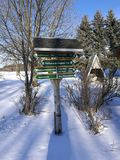 Guideposts in the winter royalty free stock images
