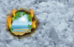 Winter Escape. Concept as a burning hole on a cold winter snow background revealing a hot tropical beach and ocean scene as a travel and vacation symbol royalty free illustration