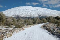 Winter Etna Mount, Sizilien stockbilder