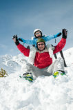 Winter euphoria. Little girl with father have fun  on ski Royalty Free Stock Images