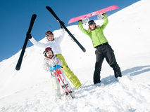 Winter euphoria. Family have fun on ski Royalty Free Stock Photo