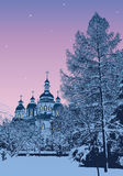Winter evening. Vector image. Winter evening in snow-covered park near Michael's Cathedral. Kiev, Ukraine Stock Photography
