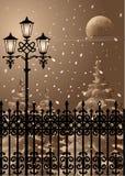 Winter Evening. Vector illustration. EPS 8 vector illustration