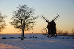 Winter evening. Windmill in winter landscape in the island Oland in southern Sweden Stock Image