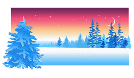 Winter Evening. Christmas card with winter evening in blue tone royalty free illustration