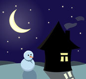 Winter Evening. Little house and snowman at winter evening vector illustration