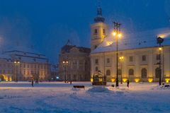 A winter evening in the Big Square of Sibiu, Transylvania Region, Romania.  stock image