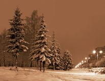 Winter evening in city. Russian winter on christmas holidays royalty free stock photos