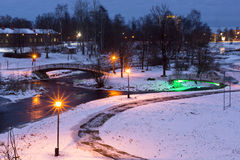 Winter evening in city park Royalty Free Stock Image