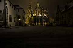 Romantic view of the night city of Prague in winter. Royalty Free Stock Images