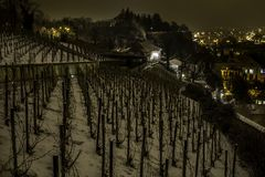 Romantic view of the night city of Prague in winter. Royalty Free Stock Photography