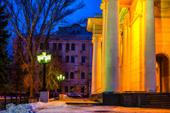 Winter evening city of Saratov with colonnade Academic Theater O Stock Photography